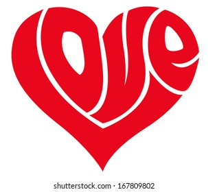 Love word made in shape of a heart