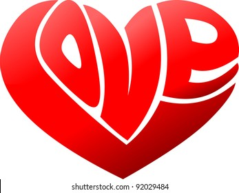 Love word made in shape of a heart. Valentine theme.