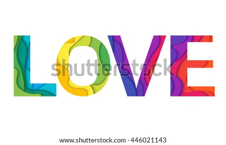 Love Word Mockup Print Colored Graphic Material Layered Design For T Shirt Or Poster