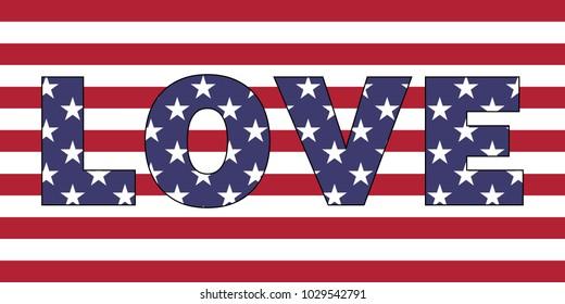 Love word on USA flag