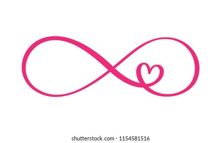 Love word In the sign of infinity. Sign on postcard to Valentine s day, tattoo, print. Vector calligraphy and lettering illustration isolated on a white background