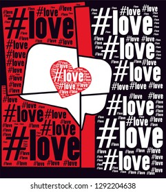 Love words with heart on Black and red colors mosaic background vector print pattern
