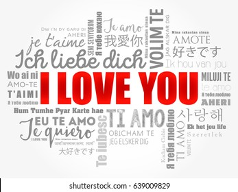 """love words """"I love you"""" in all languages of the world, word cloud background"""