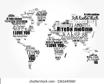 "Love words ""I love you"" in different languages in shape of World Map, word cloud concept background"