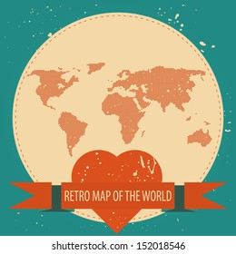 Love the world. Vector background illustration of Earth made of hearts pattern. Retro vintage map of the world.