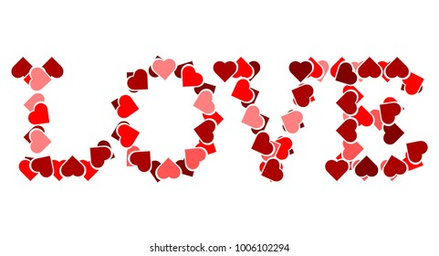 Love written in heart icons vector.