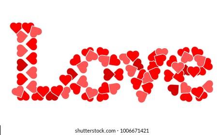 Love written in heart shape vectors.