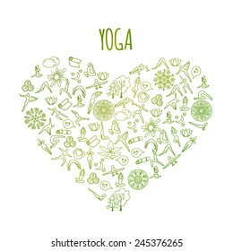 I love Yoga concept. Heart made from hand drawn doodle yoga symbols, icons and asanas. Vector illustration for your design