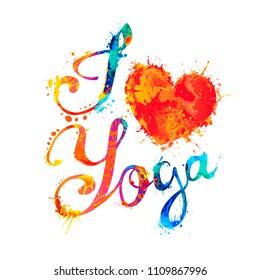 I love yoga. Hand written vector doodle font inscription of splash paint letters