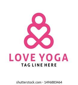 love yoga logo design vector template