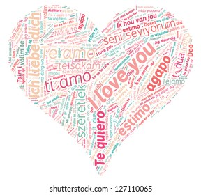 I Love You In All Languages - Heart Shaped Tag Cloud Typographic Illustration