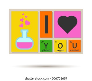 I Love You banner: chemistry theme with periodic table elements