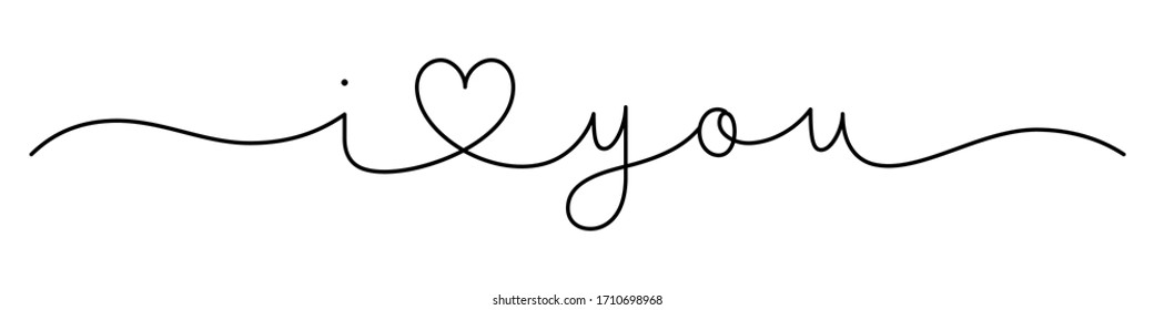 I LOVE YOU black vector monoline calligraphy banner with swashes
