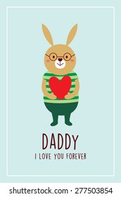 i love you bunny daddy vector greeting card