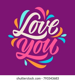 love you, calligraphy, handwritten text, lettering, greeting cards, pattern