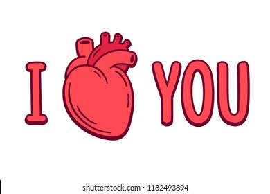 I love you cartoon text with realistic anatomic heart drawing. Valentines day greeting card.