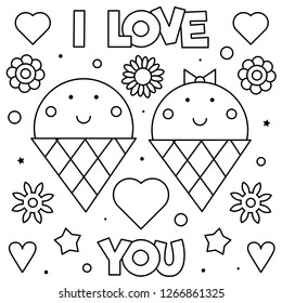 I Love You. Coloring page. Black and white vector illustration.