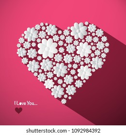 I Love You Concept with Big Heart Made from Paper Cut Flowers on Pink Background. Romance Symbol.