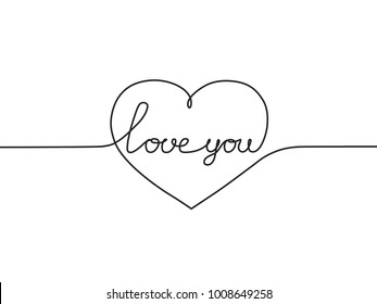 Love you a continuous line. Phrase a one line. Valentine's day card. Vector illustration. A handwritten Declaration of love.