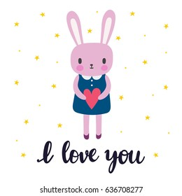 I love you. Cute little bunny. Romantic card, greeting card or postcard. Illustration with beautiful rabbit with heart. Vector illustration