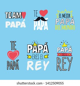 """Love you dad. Best dad of the world. Dad you era the king"" Collection of happy father's day greeting in spanish. With differents graphic elements like mustaches, hearts, crown and ribbons."