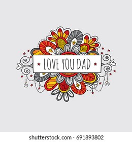 Love you dad father's day banner vector illustration with swirls, stars, and hearts on a light grey background.