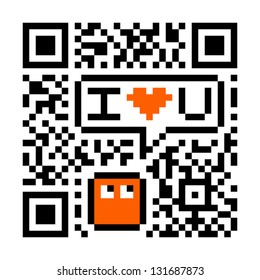 I Love You Digital Concept - Fake QR Code