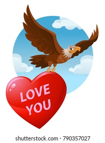 Love you. Flying American eagle carries a big heart for valentines day. Cartoon styled vector illustration. Elements is grouped. No transparent objects.