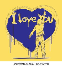I love you graffiti style