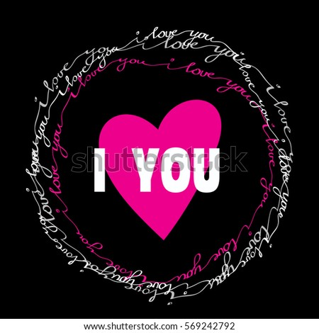 Love you greeting card hand drawn stock vector royalty free i love you greeting card with hand drawn calligraphy circle frame or wreath valentines day m4hsunfo