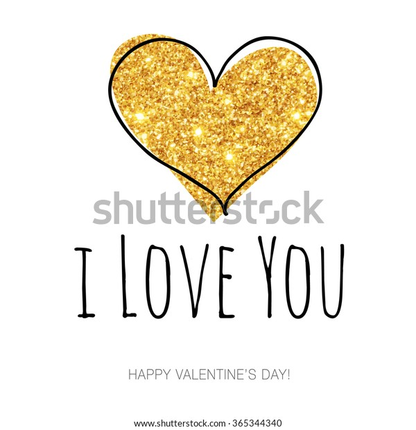 Love You Hand Draw Gold Glitter Stock Vector (Royalty Free