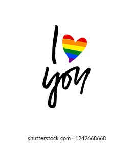 I love you. Hand drawn lettering with rainbow heart. LGBT community. Gay concept. For poster, card, web design. Vector illustration isolated on white background