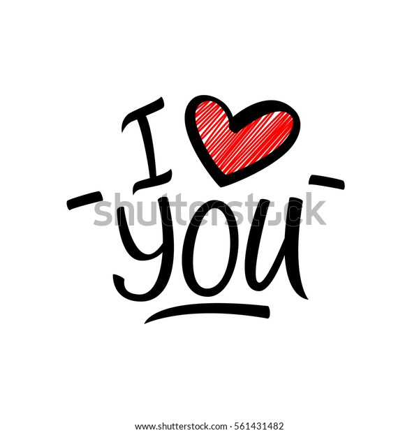 I love you hand drawn text design. Vector illustration.