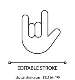 Love you hand gesture linear icon. Thin line illustration. Rock on. Horns emoji. Devil fingers. Heavy metal. Roll sign. Contour symbol. Vector isolated outline drawing. Editable stroke