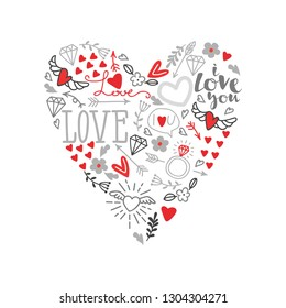 Love You hand lettering and doodles elements background in the shape of a heart– vector illustration. Cartoon vector hand drawn doodle Love You illustration