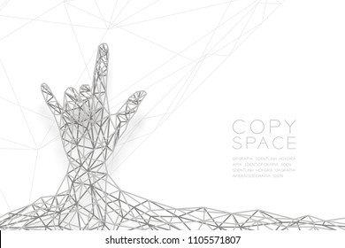 I love you Hand sign language shape front view wireframe Polygon silver frame structure,  valentine concept design illustration isolated on black gradient background with copy space, vector eps 10