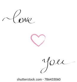Love you handwritten postcard for Valentine's day
