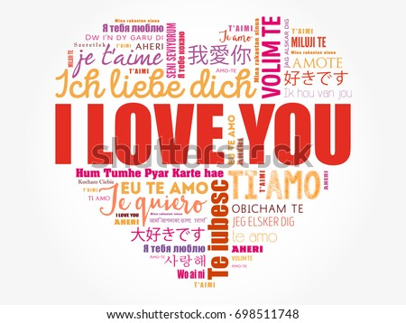 I Love You Heart Concept Word Cloud Collage In Different Languages Of The World