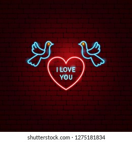 I Love You Heart Neon Label. Vector Illustration of Romance Promotion.