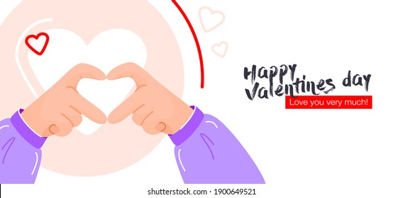 I love you heart sign. Concept on Valentine day with expresses love to you, message of love hand gesture, shapes heart with both hands.