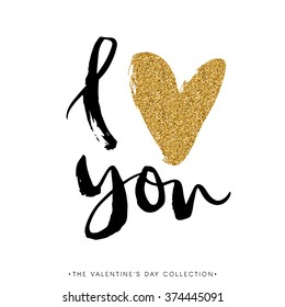 I Love You. I Heart You. Valentines Day Calligraphy Glitter Card. Hand Drawn