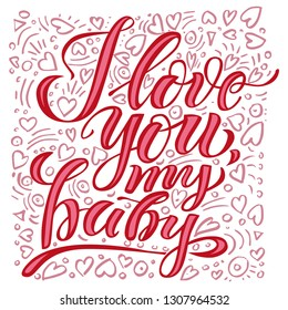 I love you, Holiday greeting card with lettering