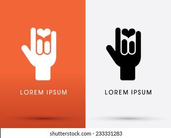 I Love You language hand sign icon, symbol, logo, Vector.