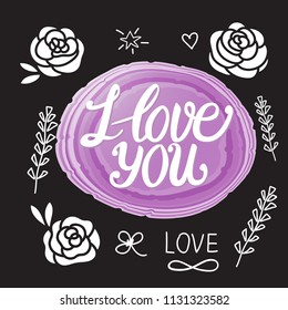 I love you lettering calligraphy inscription. Wedding day design card. Vector illustration of purple stone and elements.