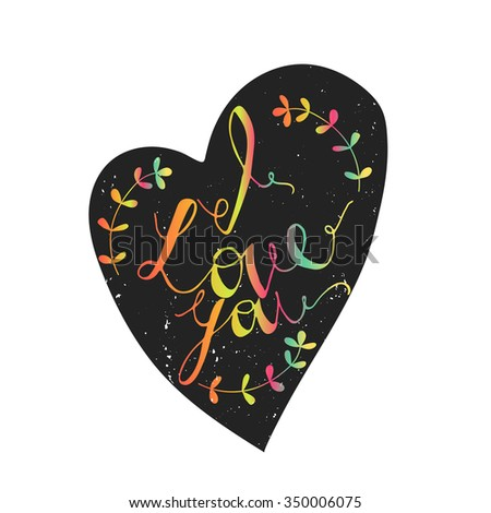 love you lettering template card rainbow stock vector royalty free