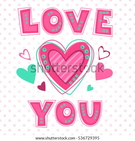 love you lettering template girlish t のベクター画像素材