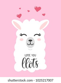 Love you llots llama quote with doodles. Llama motivational and inspirational vector poster. Simple cute white llama drawing with lettering, hand drawn vector illustration for cards, t-shirts, cases.
