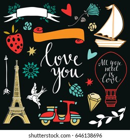 Love you logo, icons, signs. Hand drawn design elements set isolated on black background. Handwritten font, lettering