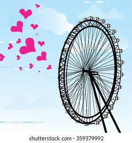 I love You London Poster Design and hearts vector illustration