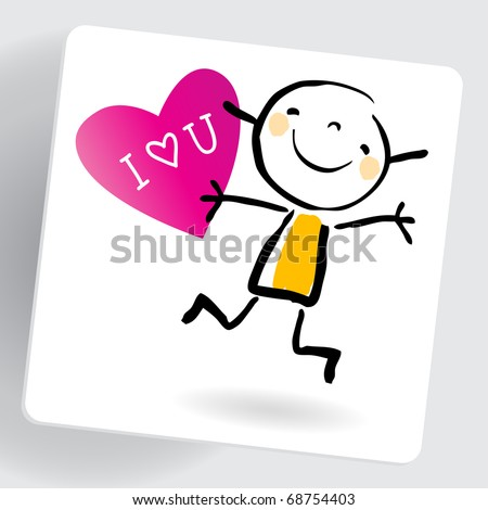 Love You Message On Note Paper Stock Vector Royalty Free 68754403